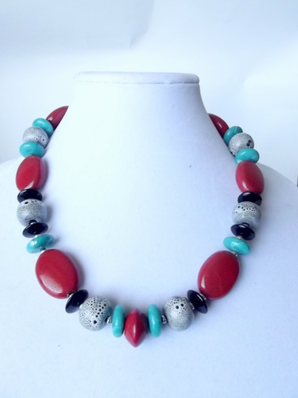 Red and Black Porcelain Necklace, Red, Black, Teal, Beaded, Ceramic Bead, Bold, Chunky, Big, Statement