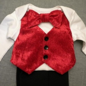 Baby Boy Outfit Christmas Red Velvet Vest Bow Tie Onesie Black Suit Fabric Pants Any Size