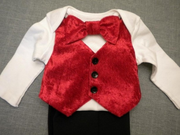 1bd794d4e Baby Boy Outfit Christmas Red Velvet Vest Bow Tie Onesie Black Su ...