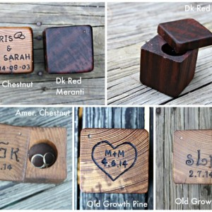 Wood Ring Box- Handcrafted Hand Engraved- Wedding Ring Box- Ring Bearer Pillow Alternative- Rustic Weddings