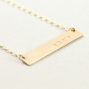 14k gold filled engraved necklace, wedding date necklace, gold filled bar necklace, custom jewelry