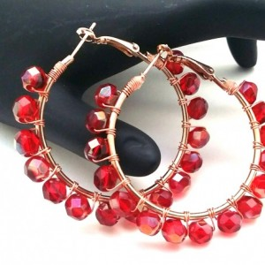 Red Wire Wrap Hoops, Red Rose Pink Hoops, Cranberry Hoops, Crimson Bead Hoops, Red Boho Hoops, Blood Red Hoops, Red Wire Wrap Hoops