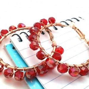 Red Wire Wrap Hoops, Red Rose Pink Hoops, Cranberry Hoops, Crimson Bead Hoops, Red Boho Hoops, Blood Red Hoops, Red Wire Wrap Hoops