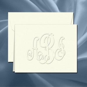 Custom Monogram Stationery - Personalized Notecard Set(RT08A) - Embossed Stationary - monogram stationary