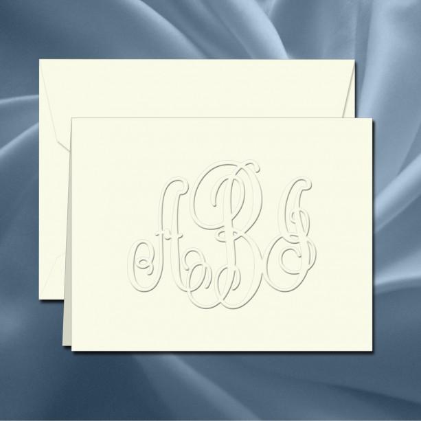 Custom Monogram Stationery - Personalized Notecard Set(RT08A) - Embossed Stationary - monogram stationary