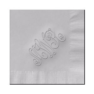 Monogram Embossed Cocktail/Beverage Napkins - (RT14A) - Script Monogram Napkins