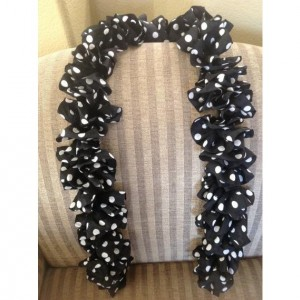 Black Ruffle Scarf with White Poka Dots