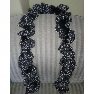 Small Black Floral Ruffle Scarf