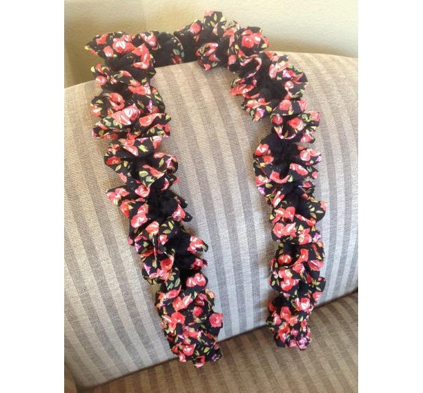 Black Ruffle Scarf with Red flowers