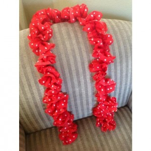 Red Ruffle Scarf with White Poka Dots