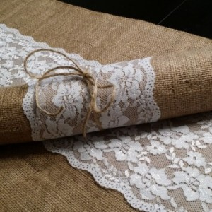 Burlap and Lace Table Runners 72 inches Long