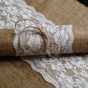 Burlap and Lace Table Runners 132 inches Long