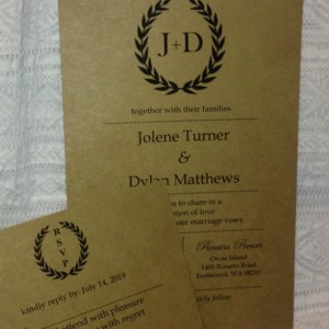 Rustic Love Wedding Invitations / Personalized Wedding Invite Set of 25