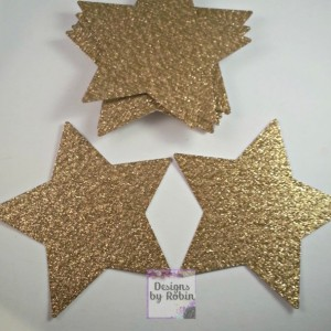 30 - 3 inch Gold Glitter Star Die Cuts, Wedding Gold Diecuts, Country Star Cut Outs- Outdoor Star Dies, Star, Baby Shower, Twinkle Star