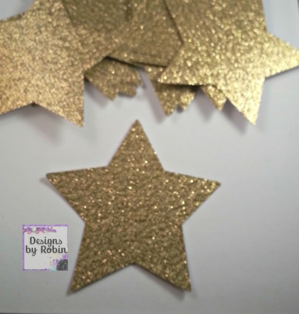 30 3 inch gold glitter star die cuts wedding gold diecuts cou