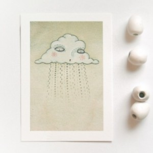 'Some Days' bad day sad rain cloud illustration 5x7 art print, home decor, wall art