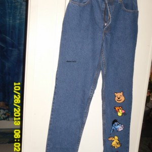 denim jeans hand painted w/ Pooh, Tigger and more