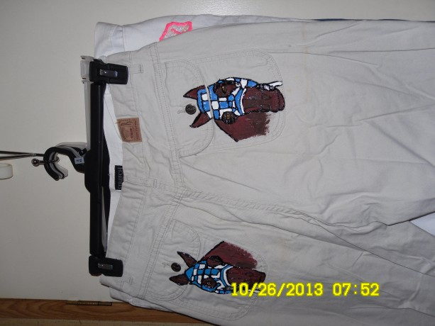 Lee rider's 12L classic fit jeans w/ Secretariat handpainted on both back pockets