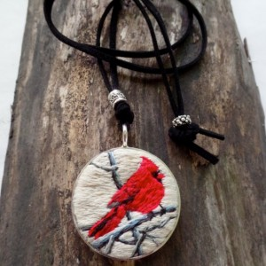 Red Cardinal Hand Embroidered Necklace
