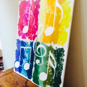 Beautiful 4 Piece Music Notes Made From Melted Crayolas and Oil Paint!