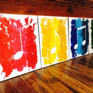 Beautiful 4 Piece Music Notes Made From Melted Crayolas!