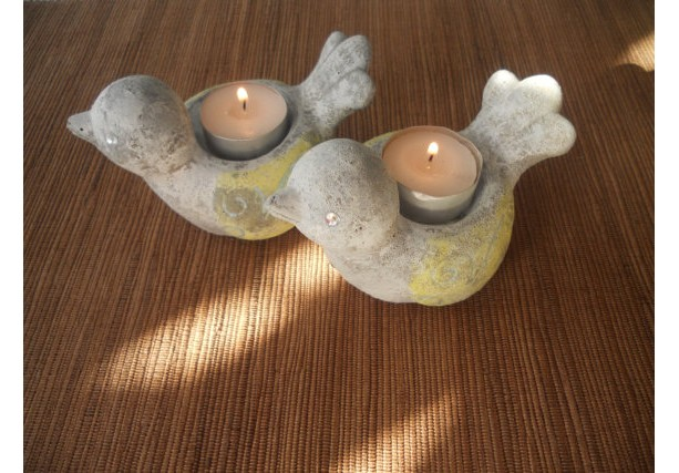 2 Little Birds Shabby Chic Candle Holders