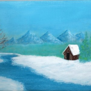 Shack in Ice Landscape Painting