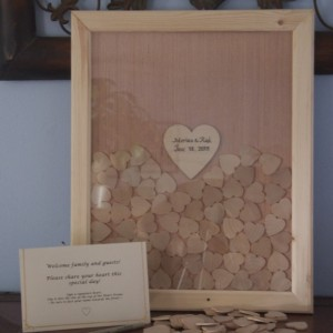 11x14 Custom Made Frame and Heart Guestbook with signature hearts