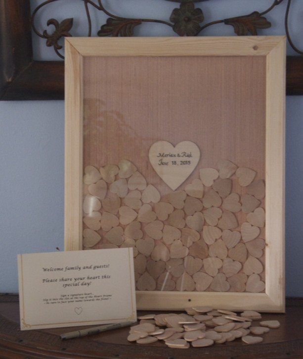 14x18 Custom Made Frame and Heart Guestbook with Signature Hearts
