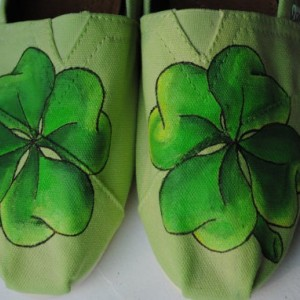 Hand Painted Toms in a Four Leaf Clover Design