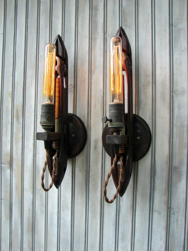 Upcycled Weaving Shuttle Industrial Wall Sconce Lighting Pair