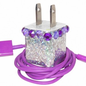 Silver Bling Cell Phone Charger
