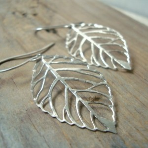 Silver Cutout Leaf Earrings