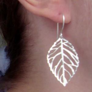 Silver Cutout Leaf Earrings