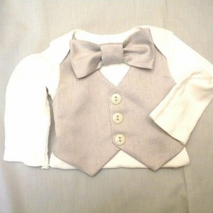 Baby Boy Vest & Bow Tie Silver Gray  Christmas Outfit - Any Size Photos Weddings