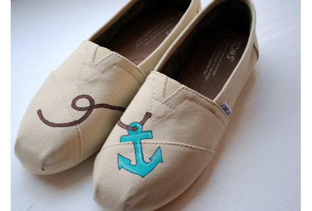 Toms Design simple anchor womens custom painted toms anchor design on na