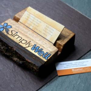 Personalized Business Card Holder - Rustic wood - Fathers Day Gift- office gift, Dad gift, Husband Gift - Custom engraving included