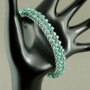 Shooting Star - Blue & Silver Beaded Chainmaille Bracelet