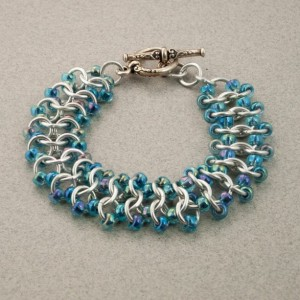 Iridescent Blue & Silver Beaded Chainmaille Lace Bracelet