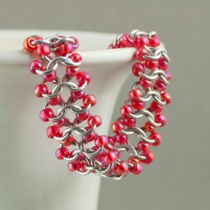 Iridescent Coral Red & Silver Beaded Chainmaille Lace Bracelet