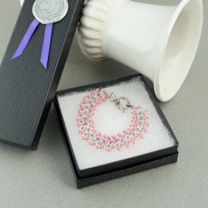 Pink & Silver Beaded Chainmaille Lace Bracelet