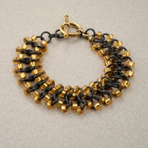Classy Black & Gold Beaded Chainmaille Lace Bracelet