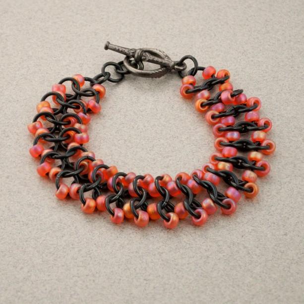 Shimmery Orange & Black Beaded Chainmaille Lace Bracelet