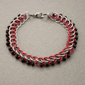 Edgy - Black, Red & Silver Beaded Chainmaille Bracelet