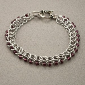 Edgy - Dark Purple & Silver Beaded Chainmaille Bracelet