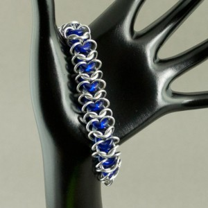 Ringer - Blue & Silver Chainmaille Bracelet with Glass Rings