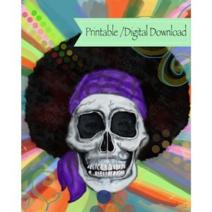 Hippie Skull Wall Art