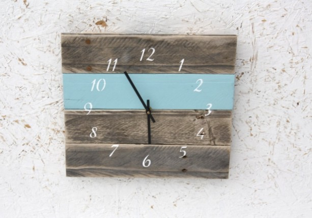 Pallet Wood. Repurposed. Recycled. Reclaimed Wood Wall Clock. Sky blue - Modern. Pallet Wood. Repurposed. Recycled. Reclaimed Wood Wal Aftcra