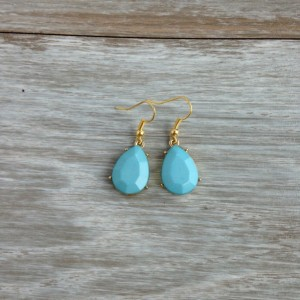 Bright Light Blue Rain Drop Dangle Earring