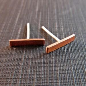 Copper Bar Post Earrings // Rustic Copper and Sterling Silver Earrings // Geometric Bar Earrings // Copper Bar Earrings